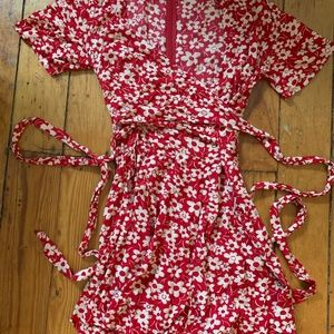 Madewell Red Daisy Floral Wrap Romper - Size 0